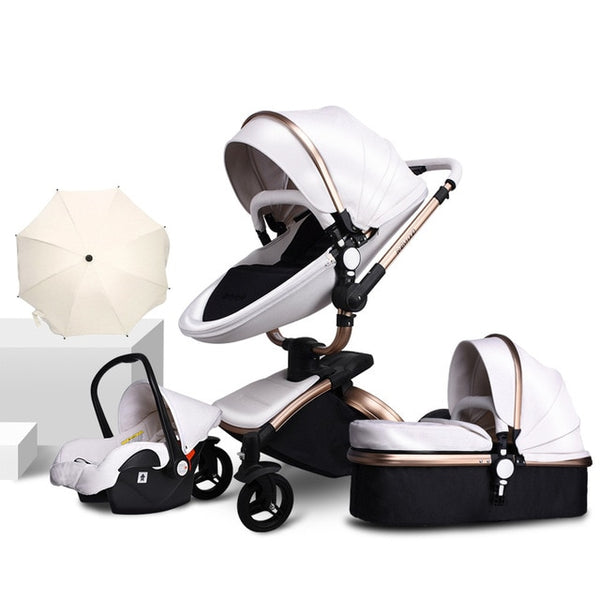 PU Leather Gold Frame White Baby Stroller