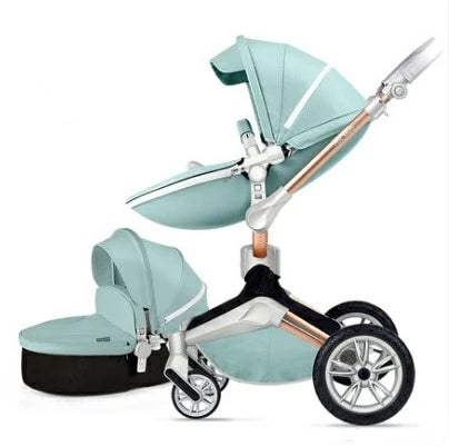 Luxury Leather Baby Stroller With Handle Basket