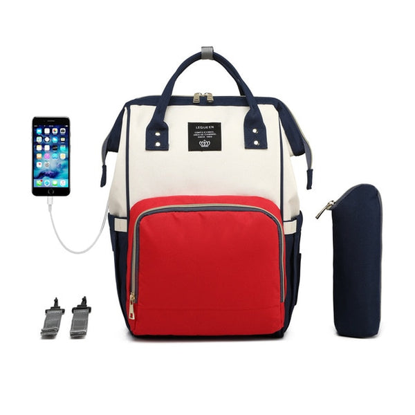 LEQUEEN USB Maternity Waterproof Diaper Bag