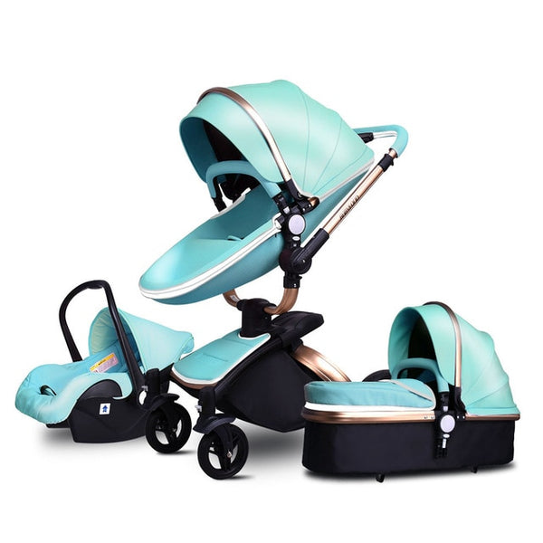 3 in 1 PU Leather Baby Stroller