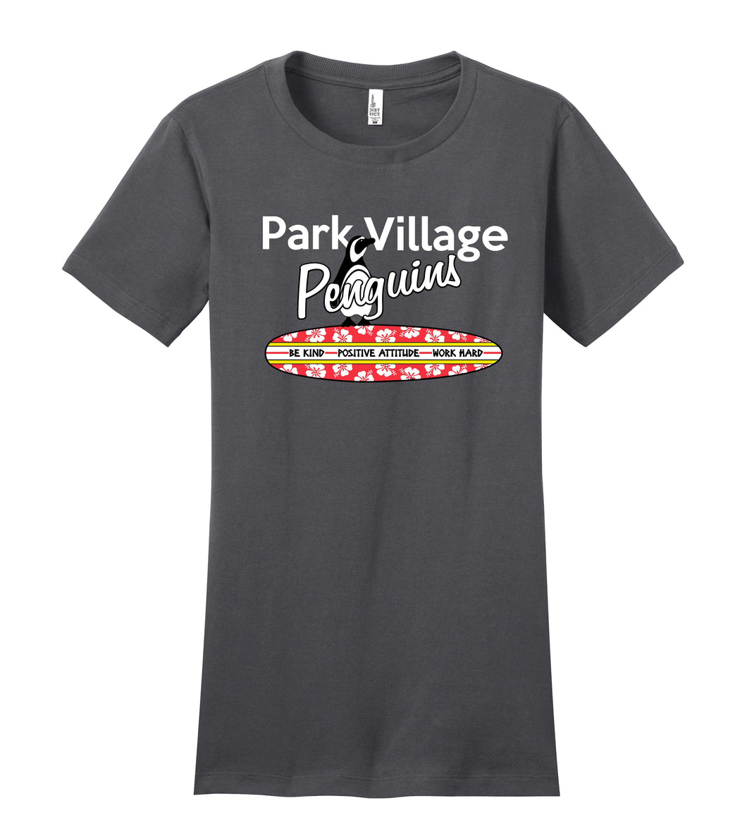 PARK VILLAGE CLASSIC SURFBOARD DESIGN SHORT SLEEVE TEE - CHARCOAL