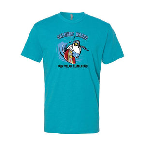 PARK VILLAGE WAVES DESIGN T-SHIRT - BONDI BLUE