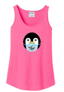PVF Penguin Mask Port & Company Ladies Core Cotton Tank - Neon-Pink