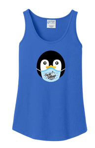 PVF Penguin Mask Port & Company Ladies Core Cotton Tank - Royal