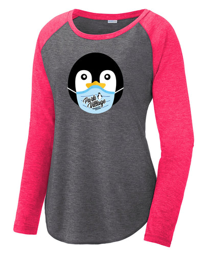 PVF Penguin Mask Sport-Tek Ladies' Tri-Blend LS Scoop Neck Raglan - Raspberry/Dk-Gray