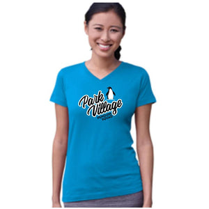 Penguin Squad - LAT Apparel 3507 - Ladies' Fine Jersey V-Neck Longer Length Tee- COBALT
