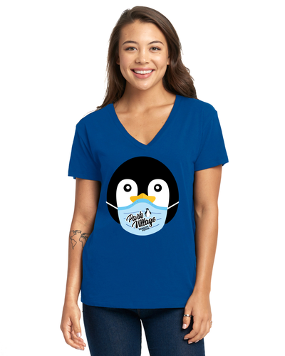 Penguin Squad Mask Ladies Relaxed V-Neck T-Shirt - Royal