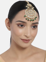18K Gold Plated Traditional Kundan Studded with Pearls Maang Tikka for Women/Girls