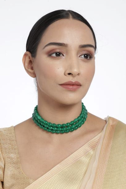 18K Gold Plated Intricately Handcrafted 3 Layer Light Weight Emerald Beaded Choker For Women/ Girls (ML251G)