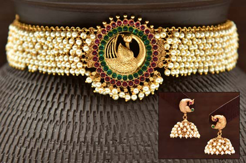 24K Gold Plated Intricately Handcrafted Antique Brass Choker Set Studded With Pearls Along With Earrings