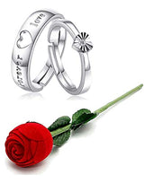 Valentine's Special Platinum Plated CZ Adjustable Couple Rings With Red Rose Gift Box for For Love