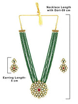 5 Layered Emerald Onyx Crystal Beads Necklace Glided With Uncut Polki Kundan for Women/Girls (ML269G)
