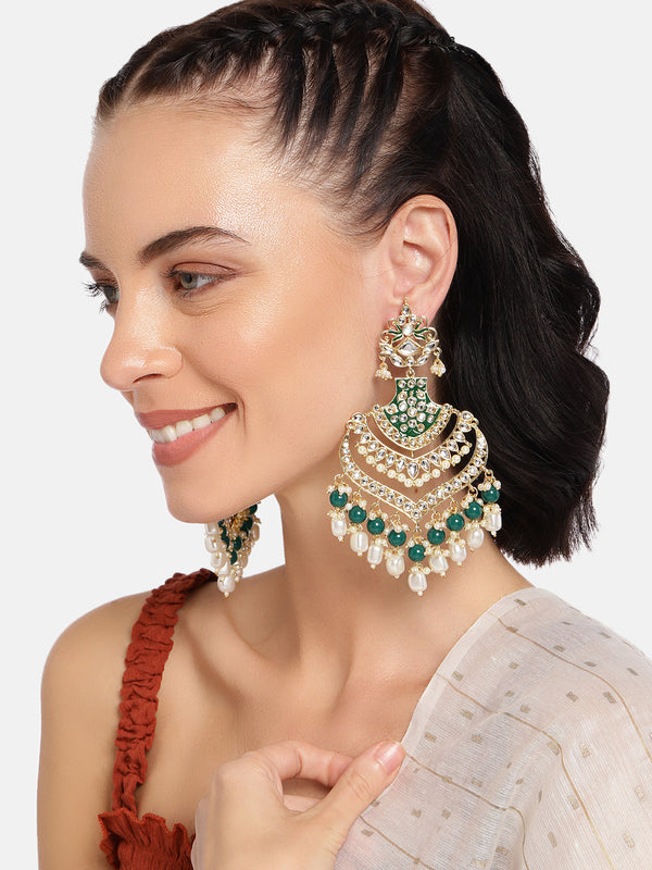 18K Gold Plated Intricately Designed Traditional Long Earrings Green Enamel Glided With  Kundans & Pearls