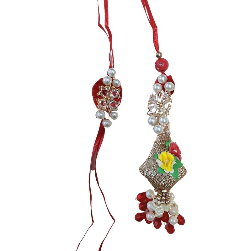 Designer Metallic Floral with pearls Bhaiya Bhabhi Rakhi Set (RG)