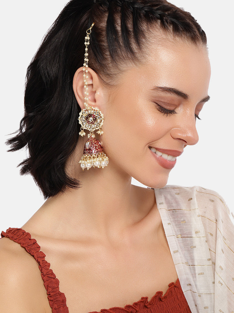 18K Gold Plated Intricately Designed Traditional Earrings with Detachable Hair Chain Encased With Kundans & Pearls