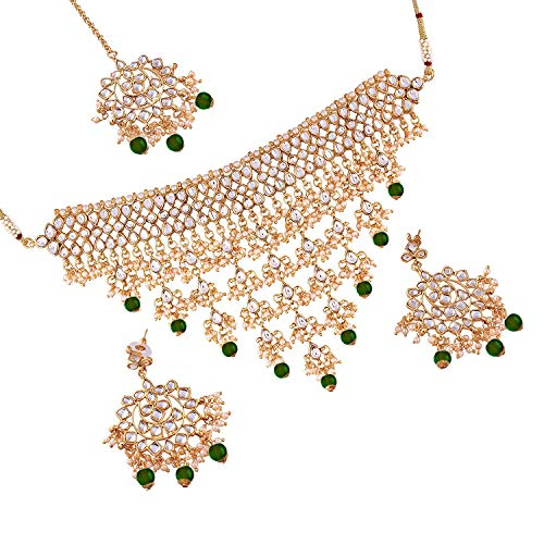 Gold Plated Traditional Kundan Choker Necklace Set with Earrings & Maang Tikka For Women (K7064G)