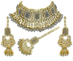 18K Gold Plated Traditional Handcrafted Faux Kundan & Pearl Studded Bridal Necklace Set with Earrings & Maang Tikka (IJ401Gr)