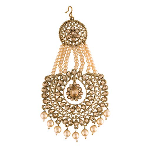 Gold Plated Handcrafted Ethnic Beaded Maang Tikka/Passa bespangled with Faux Kundan & Pearls for Women (T2039FL)