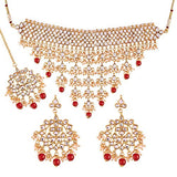 Gold Plated Traditional Kundan Choker Necklace Set with Earrings & Maang Tikka For Women (K7064R)