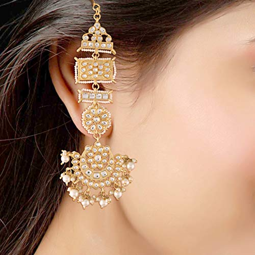 18K Gold Plated with Stunning Matte Finish Long Traditional Bollywood Kundan & Faux Pearl Chandbali Earrings For Women/Girls (E2861W)