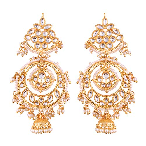 18K Gold Plated Traditional Handcrafted Earrings Encased with Faux Kundan & Pearl for Women/Girls (E2787W)
