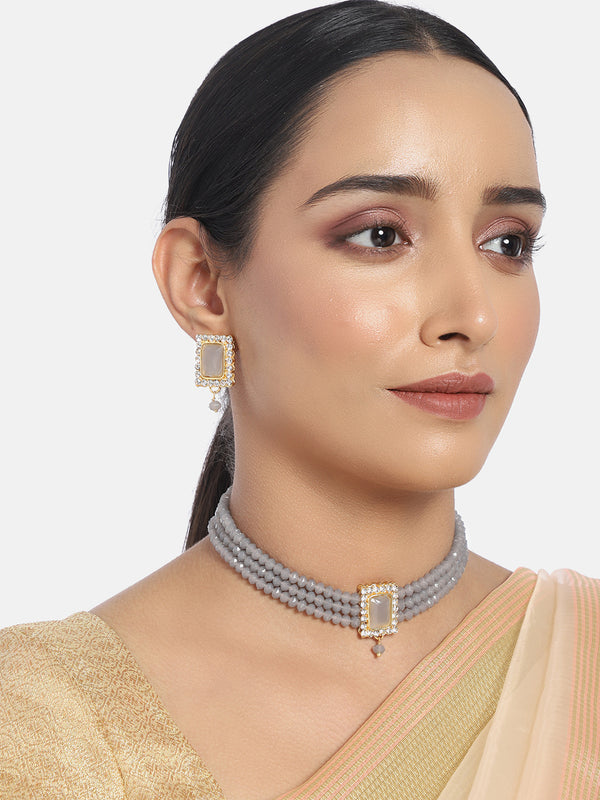 18K Gold Plated Traditional Handcrafted Beaded Grey Choker with Earrings for Women/Girls (ML237Gr)