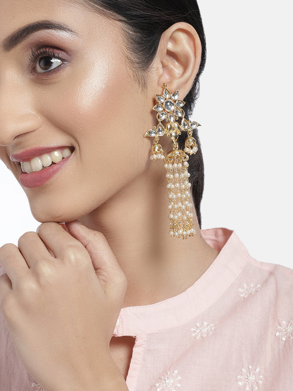 Gold Plated Long Traditional Kundan & Pearl Dangler Jewellery Earring for Women (E2854W)