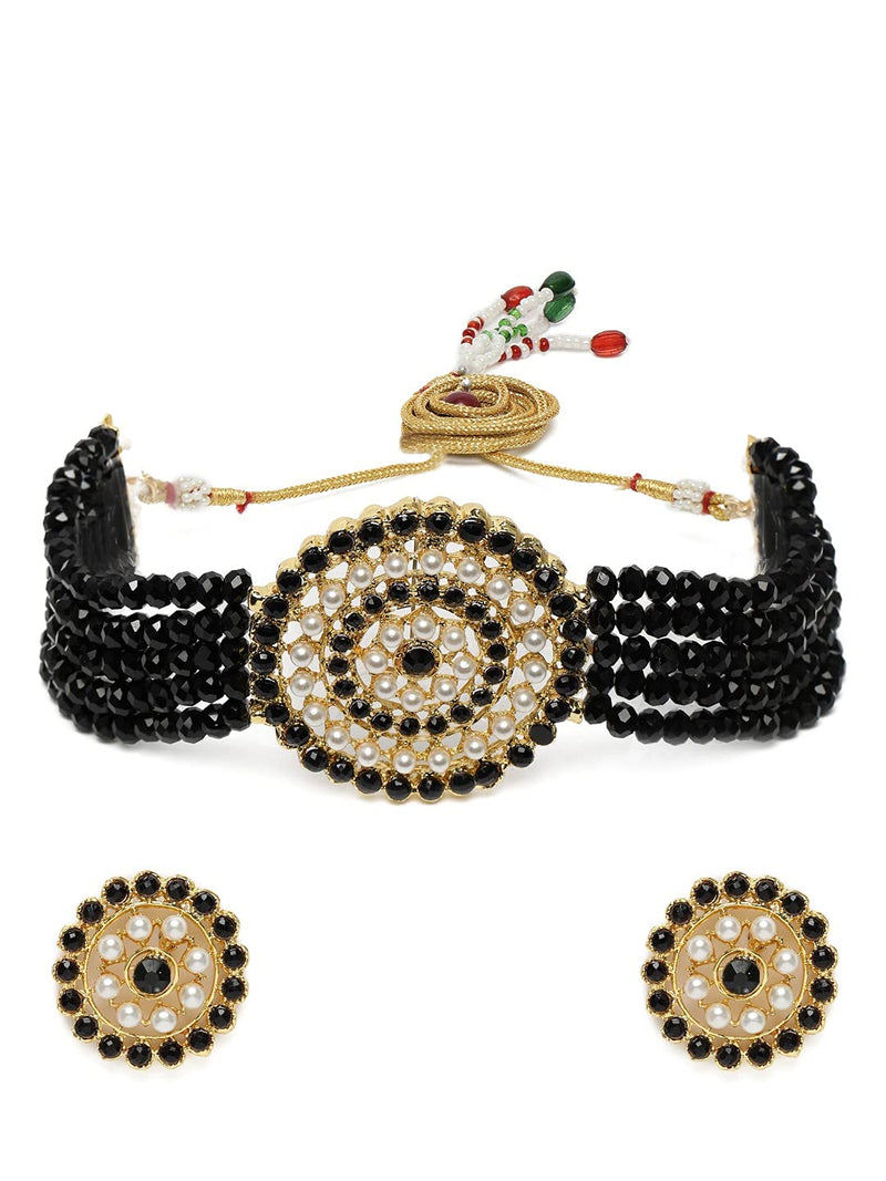 18K Gold Plated Traditional Light Weight Beaded Choker Set Glided With Moti Work