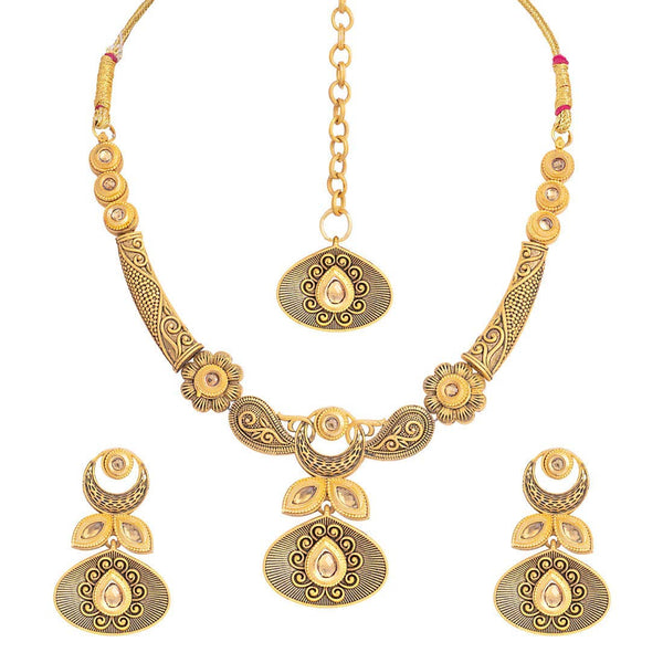 ntique Gold Plated Handcrafted Traditional Necklace Set with Earrings & Maang Tikka for Women