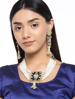 Gold Plated Traditional Padmavati Pearl & Kundan Necklace with Earrings ML118Bl