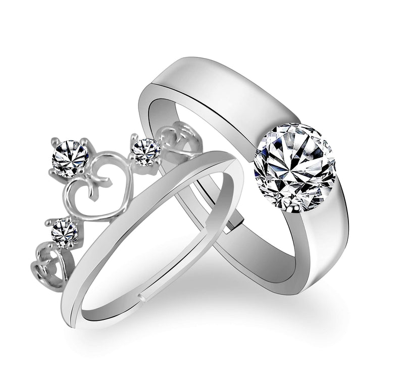 Valentine's Special Platinum Plated CZ Adjustable Couple Finger Rings For Love (FL187CO)