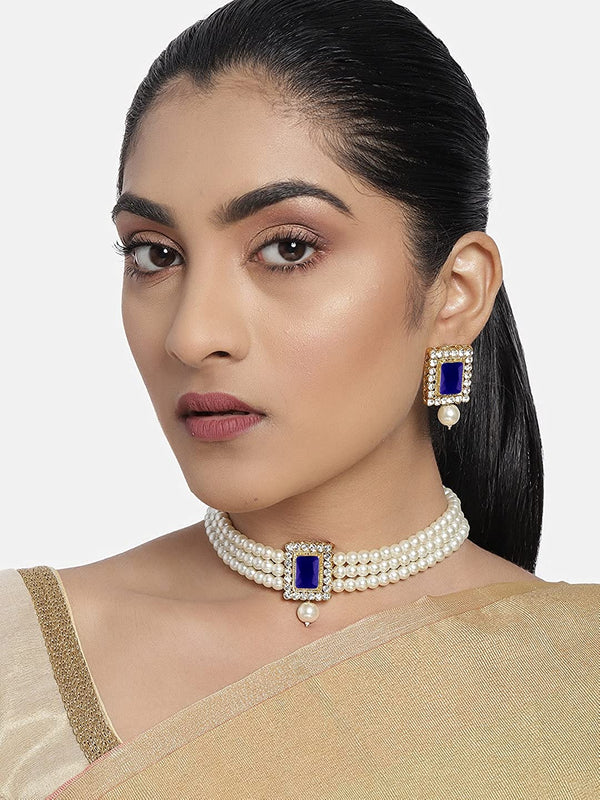 18K Gold Plated Traditional Handcrafted Sapphire Stone Beaded Choker with Earrings For Women/Girls (ML237Bl)