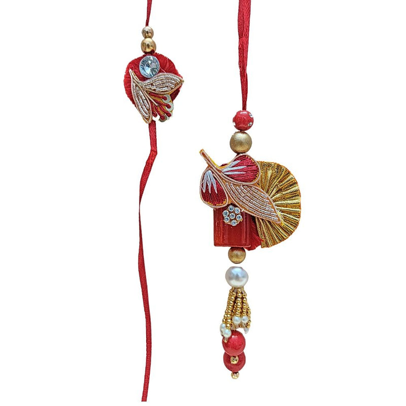 Designer Zardozi work Crystal with pearls Bhaiya Bhabhi Rakhi Set (RK)