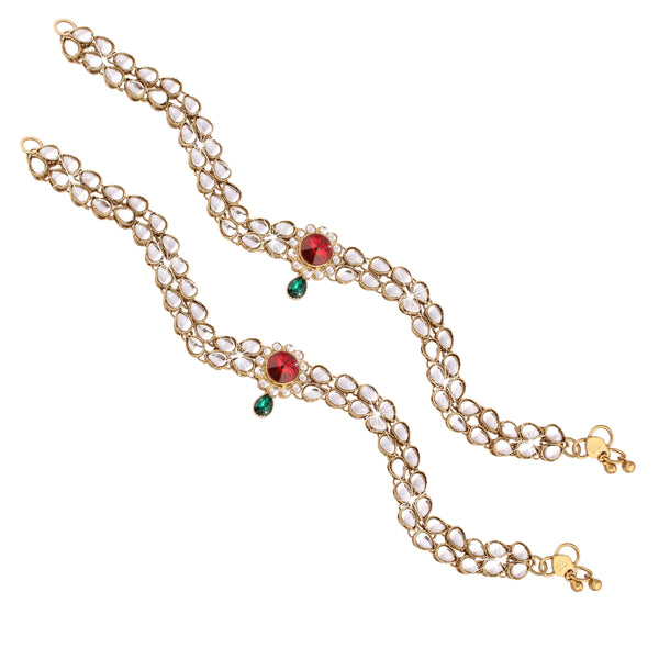 Traditional Gold Plated Kundan Payal /Anklets
