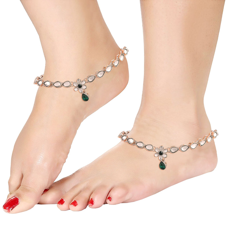 Traditional Silver Plated Kundan Anklets