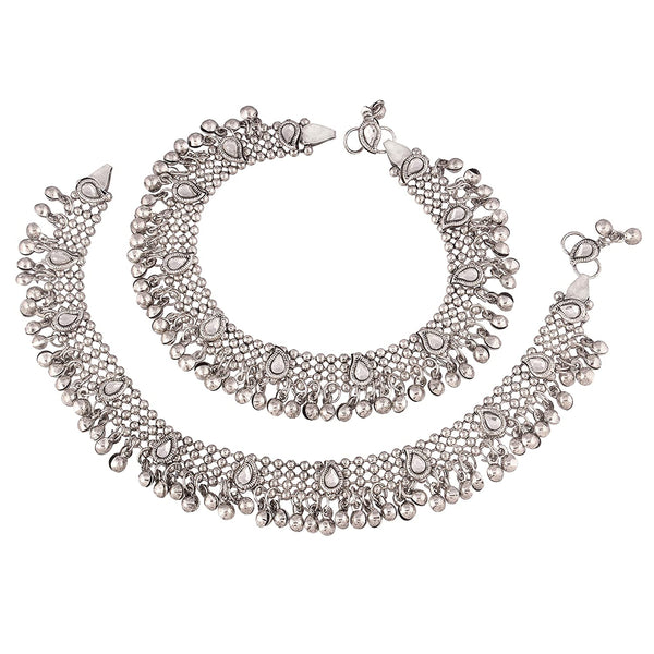 Traditional Oxidized Silver Kundan Anklets