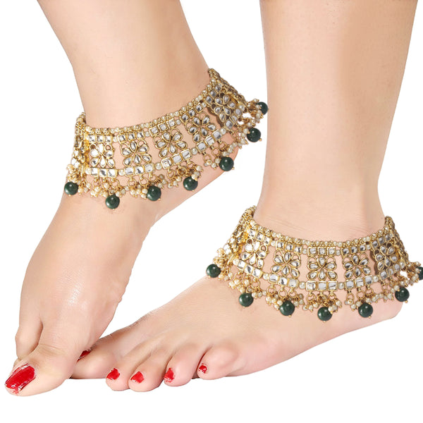Traditional Gold Plated Bridal Kundan Anklets