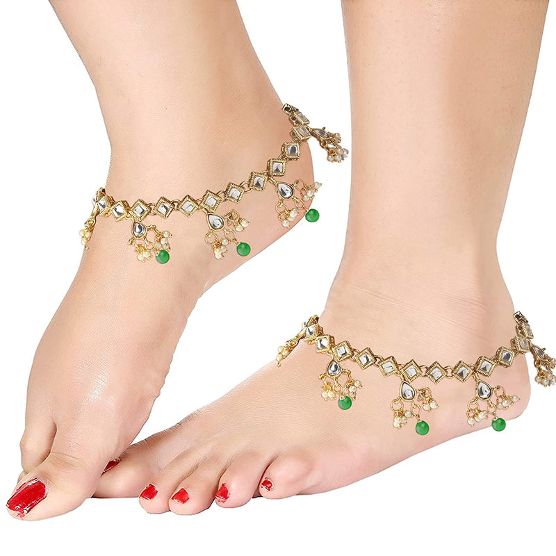 Traditional Gold Plated Kundan Pearl Anklets