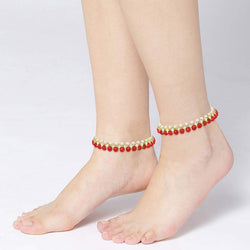 Traditional Gold Plated Kundan Pearl Payal/ Anklets