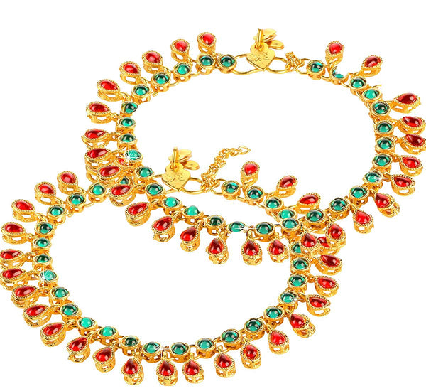 Traditional Gold Plated Kundan Payal/ Anklets
