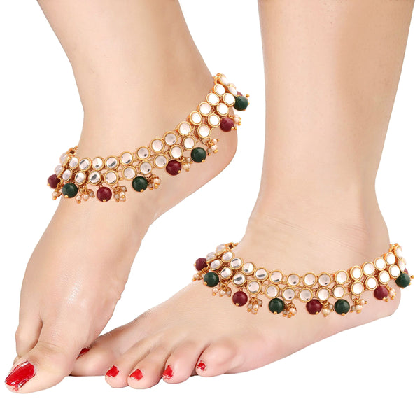 Traditional Gold Plated Kundan Pearl Anklet