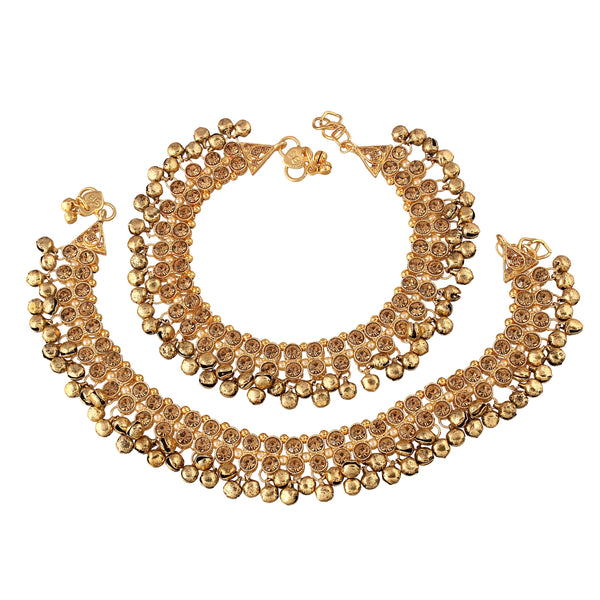 Traditional Gold Plated Stone Studded Small Bell Anklet