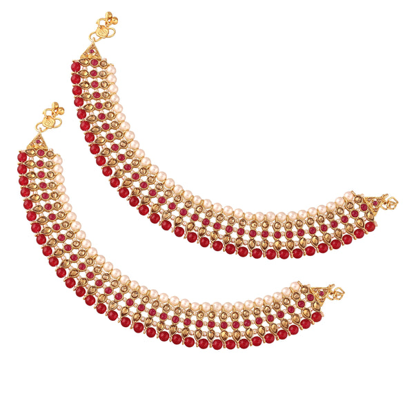 Traditional Gold Plated Kundan Pearl Anklet A034