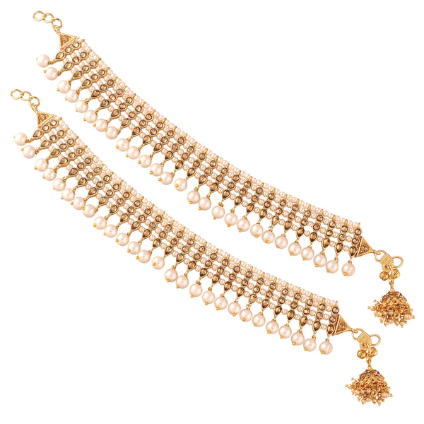 Traditional Gold Plated Kundan Pearl Anklets with Jhumkis at end for Women (AO35W)