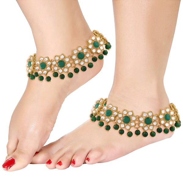 Traditional Gold Plated Encased with Faux Kundan & Pearls Adjustable Pair of Bridal Green Anklets Payal for Women/Girls (A037G)