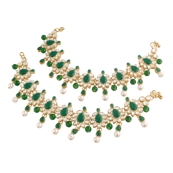 Traditional Gold Plated Bridal Anklets Payal Embellished with Green Stones & Faux Kundans for Women/Girls (A038G)