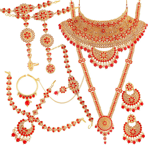 Ethnic Indian Traditional Gold Plated Kundan Dulhan Bridal Jewellery Set for Women