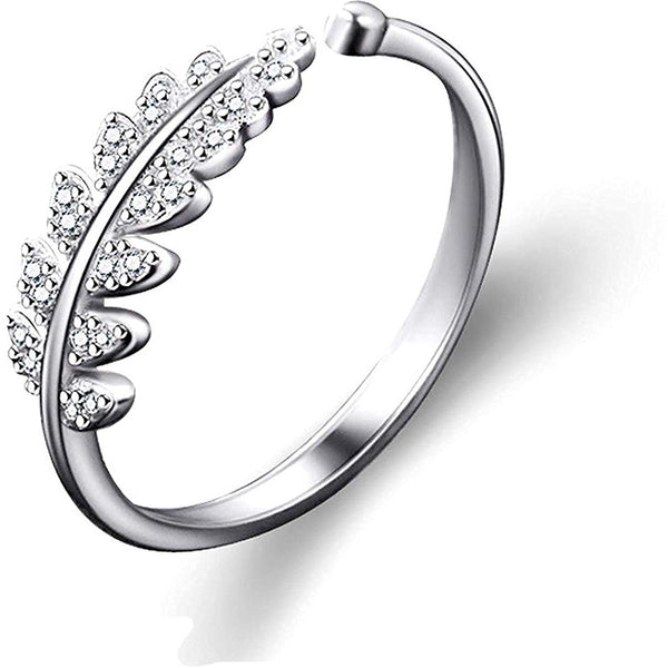 Adjustable Silver Plated CZ Ring for Women