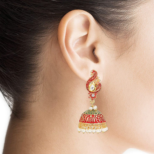 Traditional Gold Plated Meenakari Pearl Peacock Jhumki For Women (A86E01MG)