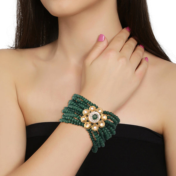 Gold Plated Chandbali with Beaded Bracelet (E7058G-ADB146G)
